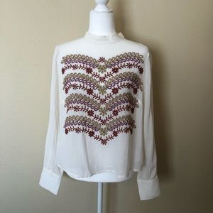 Anthropologie Meadow Rue Daphne Embroidered Blouse